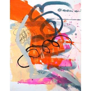"Lesley Grainger ""Orange Swish 1"" Original Abstract Painting For Sale"
