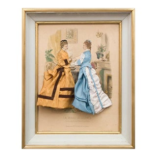 Mid 19th Century Vintage French Fashion Engraving For Sale