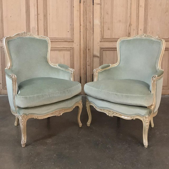 Pair 19th Century French Louis XV Bergeres ~ Armchairs For Sale - Image 12 of 12