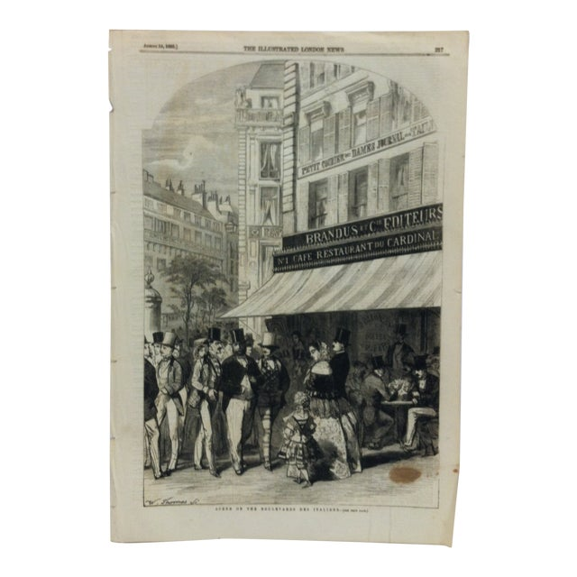 "1855 Antique ""Scene on the Boulevard Des Italiens"" The Illustrated London News Print For Sale"