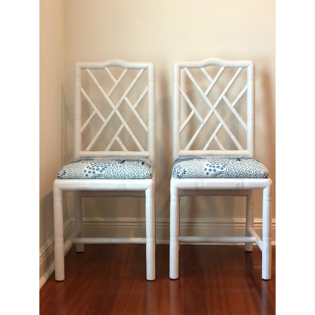 Adorable Sarreid Brighton Bamboo chairs (2). Reworked in satin white and upholstered in Vern Yip's Oxnard Blue fabric!...