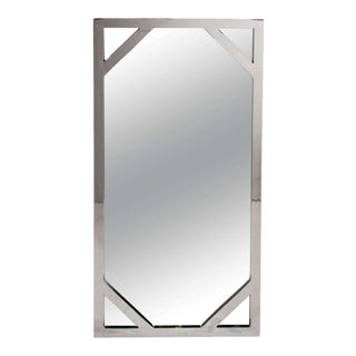 1970s Hollywood Regency Chromed Chippendale Mirror by Milo Baughman For Sale
