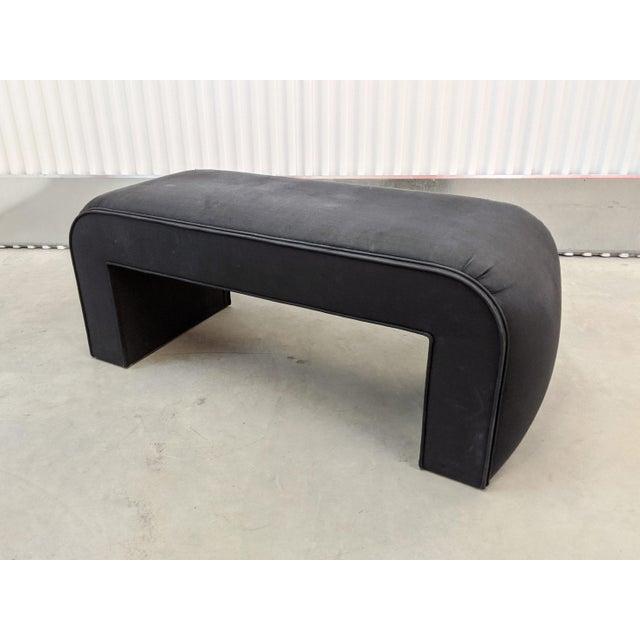 Karl Springer 1990s Modern Upholstered Waterfall Bench For Sale - Image 4 of 9