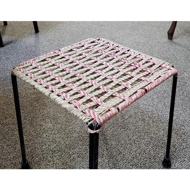 "Item #P3050 Mid Century Woven Top Stool Metal Base - Rubber Pad Feet - Rope Wove Solid & Sturdy - UK Import 11"" Square x..."
