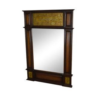 1990s South Cone Trading Company Handmade Mahogany Eglomise Trumeau Mirror For Sale