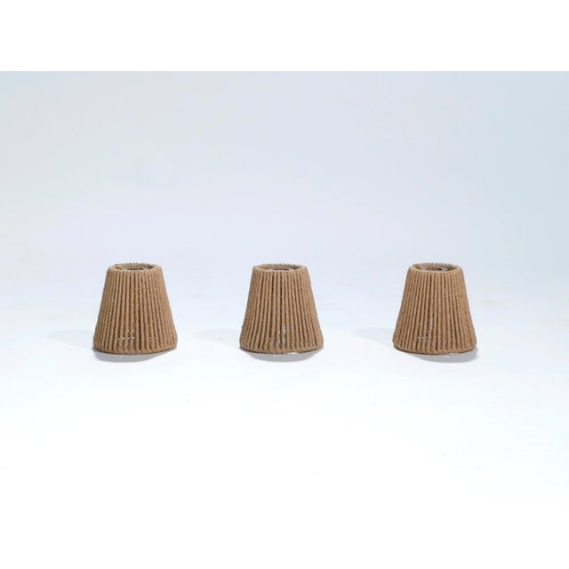 A set of three lampshades for a beachy, vintage feel in a contemporary interior. Each lampshade is 13.5 cms / 13.5 cms...