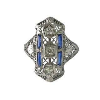 Edwardian 18k White Gold Filigree Diamond Sapphire Ring For Sale