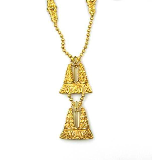 "An exotic double pendant necklace on an ornate chain ideal for caftans and boho tops. - 30 3/4"" L, pendant: 4 1/4"" L, 1..."