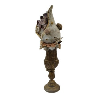 Seashell Specimen on 18th C. French Alter Stick For Sale