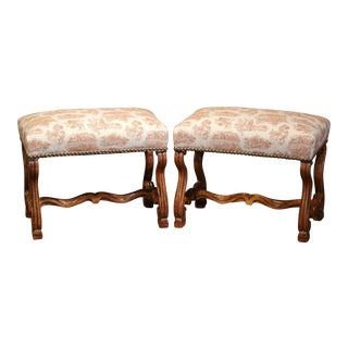 Pair of 19th Century French Louis XIII Carved Walnut Stools with Toile de Jouy
