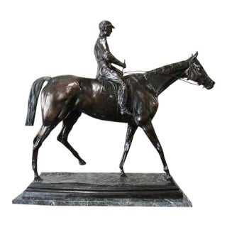 French Bronze Jockey Horse Sculpture For Sale