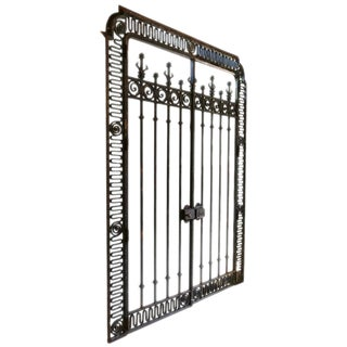 Vintage Mid Century Monumental French Wrought Iron Gate For Sale