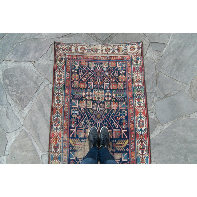 Asian House of Séance - 20th Century Antique Caucasian Handwoven Rug - 3′1″ × 10′10″ For Sale - Image 3 of 11