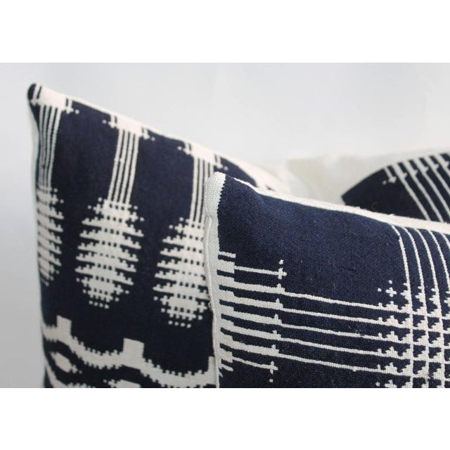 Blue 19th Century Handwoven Jacquard Coverlet Pillows For Sale - Image 8 of 10
