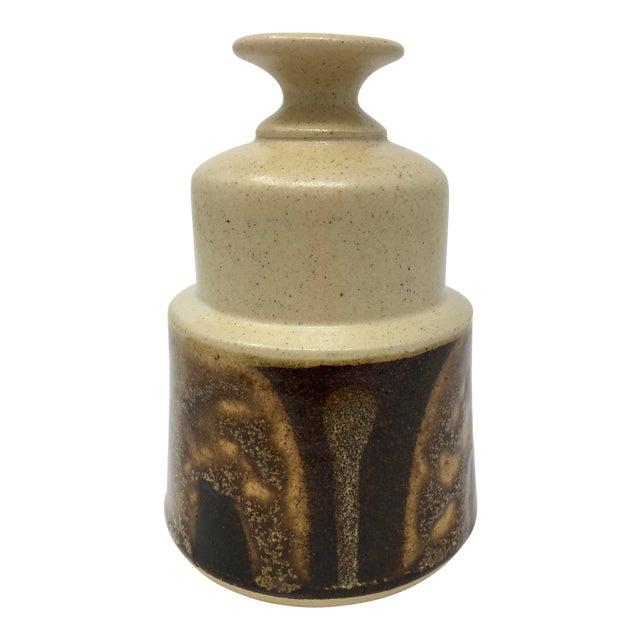 Vintage Mid-Century Ceramic Earth Tone Vase For Sale