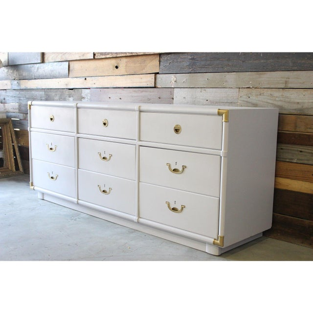 Campaign Vintage Drexel Campaign Dresser Lacquered in White For Sale - Image 3 of 5