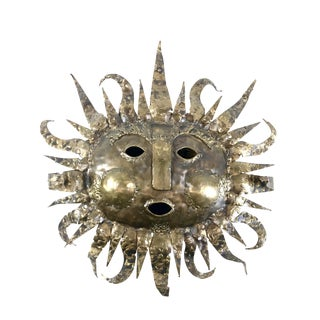 1970s Vintage Talleres Emaus Mexican Handcrafted Metal Sun Sculpture For Sale