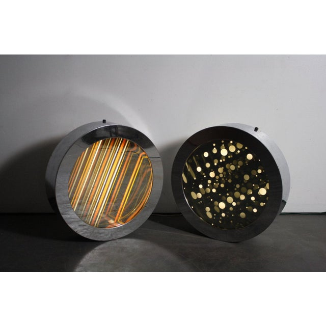 Art Deco Round Chrome Infinity Mirrors - A Pair For Sale - Image 3 of 5