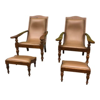 Plantation Style Leather Chair & Ottoman - 4 Pieces For Sale