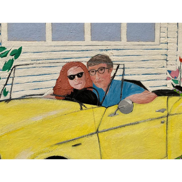 """1980s """"Cool Couple in a Yellow Drop Top"""" Postmodern Style Figurative Painting on Paper and Cardboard by Karen Kilchel, Framed For Sale - Image 4 of 12"""