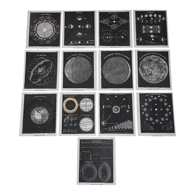 Antique 19th Century Astronomical Lithographs-Celestial Maps/Charts-Set of 13 For Sale