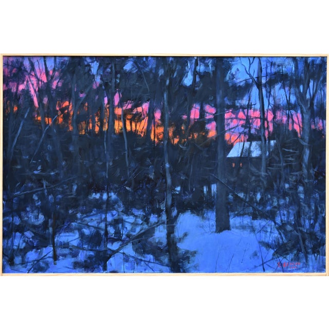 """""""Sunrise From the Woods"""" Contemporary Landscape Acrylic Painting by Stephen Remick, Framed For Sale"""