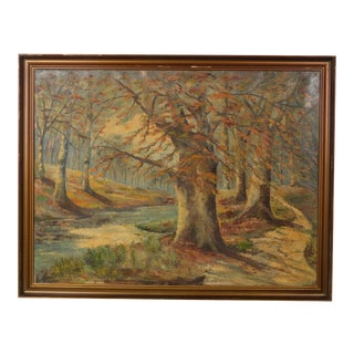 Large Autumn Forest With Stream Landscape by E. Kehler For Sale