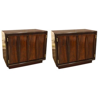 1960s Mid-Century Modern Sculpted Front Chests or End Tables - a Pair For Sale