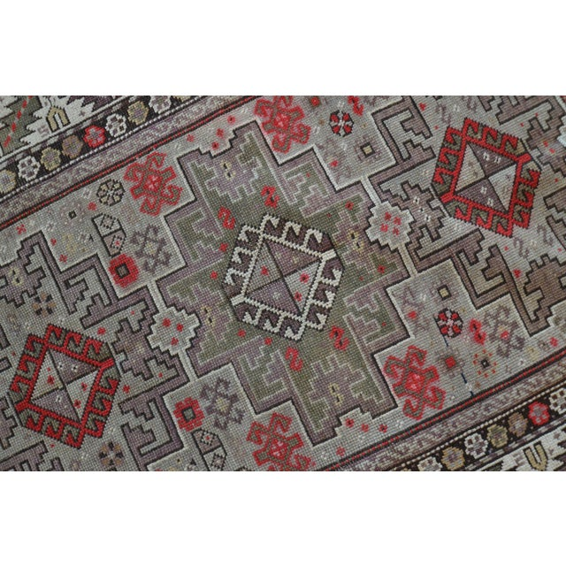 Distressed Vintage Star Kazak Rug - 3′9″ × 5′ - Image 8 of 9