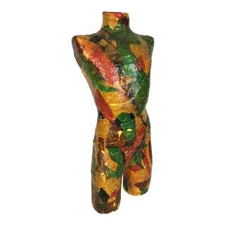 Vintage Colorful Decoupage Plaster Torso Sculpture For Sale