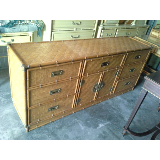 Dixie Furniture Co. Dixie Furniture Co. Boho Bamboo & Woven Wicker Dresser For Sale - Image 4 of 11