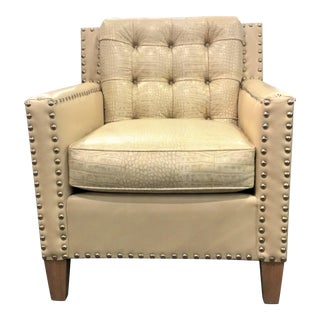 Leather Craft Co. Modern Embossed Alligator Print Cream Leather Club Chair For Sale