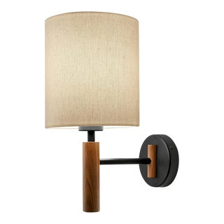 Satin Black and Walnut Wall Light With Shade For Sale