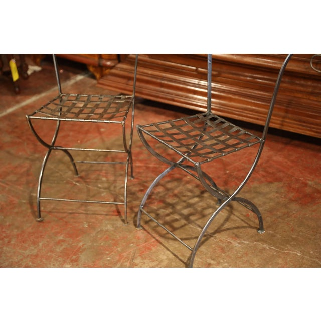 French 19th Century French Polished Iron Bistro Chairs From Paris - a Pair For Sale - Image 3 of 11