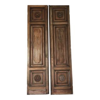 Antique Mahogany Tall Embellished Doors - a Pair