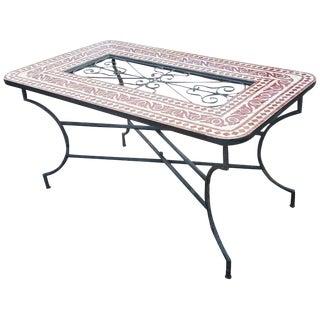 Moroccan Rectangular Burgundy/Tan Mosaic Dining Table For Sale