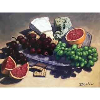 2010 Paul Dinwiddie Cheese and Fruit Plate Still Life Oil on Canvas Painting For Sale