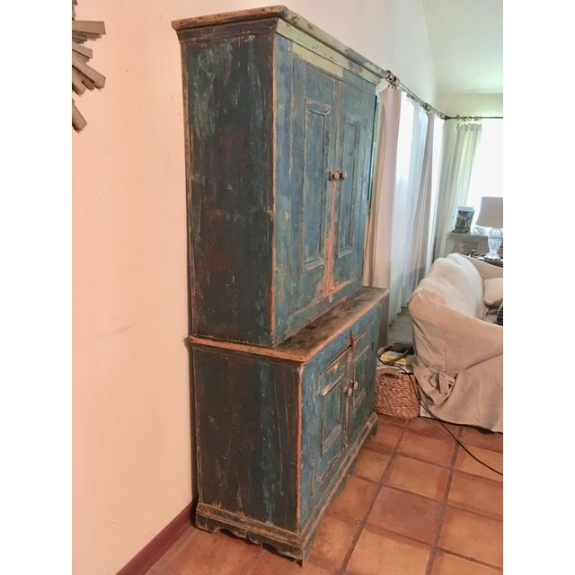 Turquoise Mid 19th Century Antique Blue Step Back Cupboard For Sale - Image 8 of 9