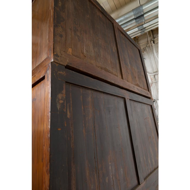 Vintage Chinese Elm Compound Wedding Wardrobe in Two Parts With Metal Hinges For Sale - Image 10 of 13