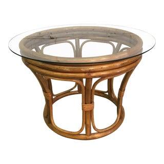 Rattan & Glass Top Coffee Table