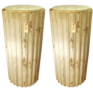 A Pair of Painted Column Pedestals,Circa 1900 For Sale
