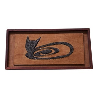 Mid-Century Cat Mosaic Folk Art by Bowes For Sale