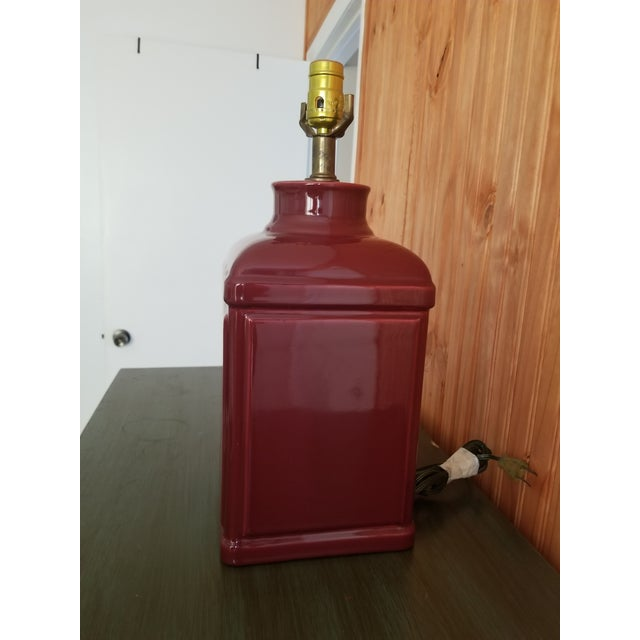 American 1970s Red Glass Square Body Table Lamp For Sale - Image 3 of 6