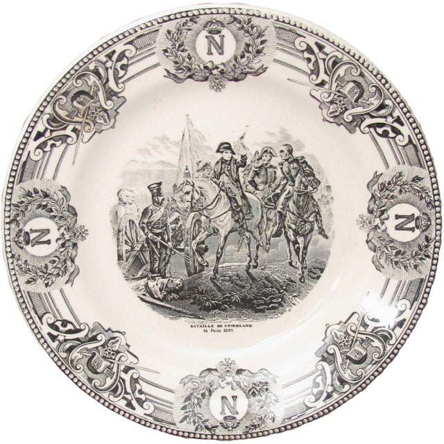 French Country Napoleon Black & White Transferware Plates C. 1920 - A Pair For Sale - Image 3 of 4