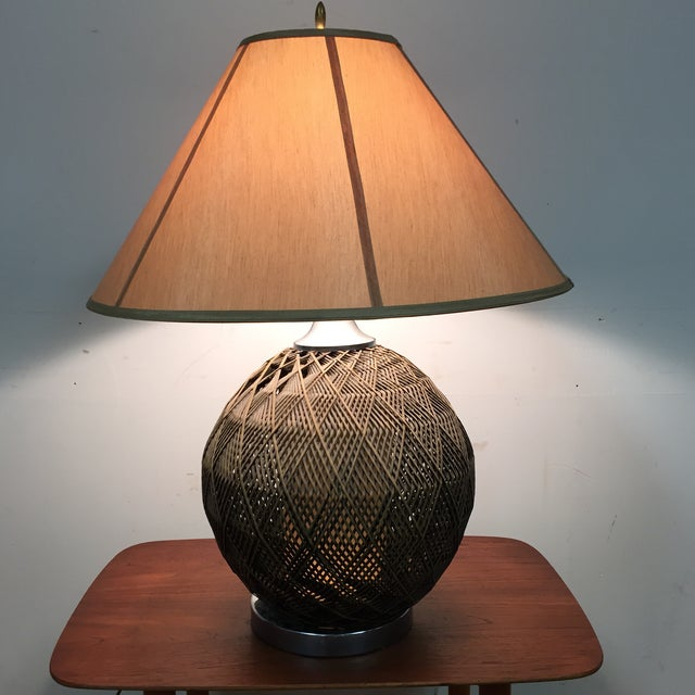 Optic Woven Cane Table Lamp - Image 3 of 11