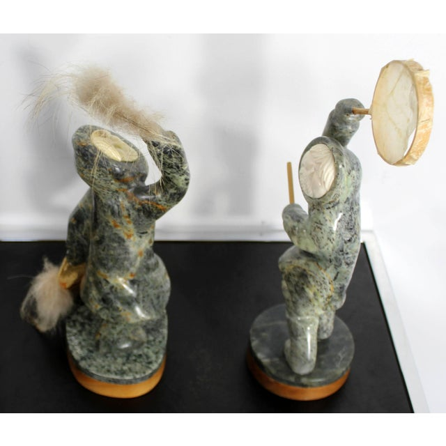 Modern Pair of Eskimo Soapstone and Tusk Carving Table Sculptures Signed Ekemo For Sale - Image 4 of 11