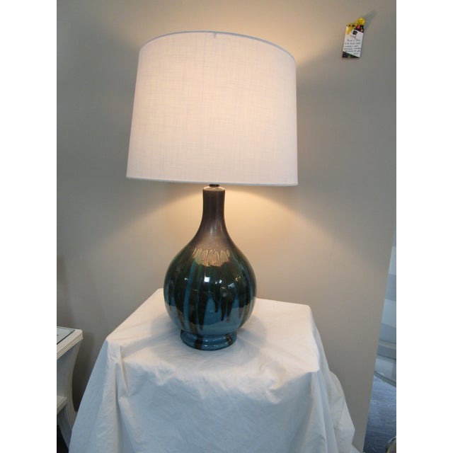 1950's Vintage Drip Glazed Table Lamp For Sale - Image 4 of 5