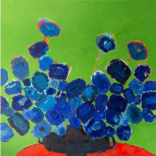 """Bill Tansey """"Blue Bouquet"""" Abstarct Floral Oil on Canvas For Sale"""