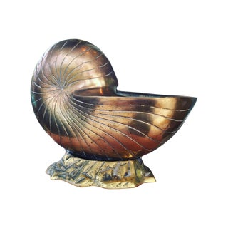 Large Brass Shell Planter For Sale