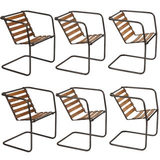 Industrial Metal and Wood Chairs With Adjustable Seats - Set of 6 For Sale